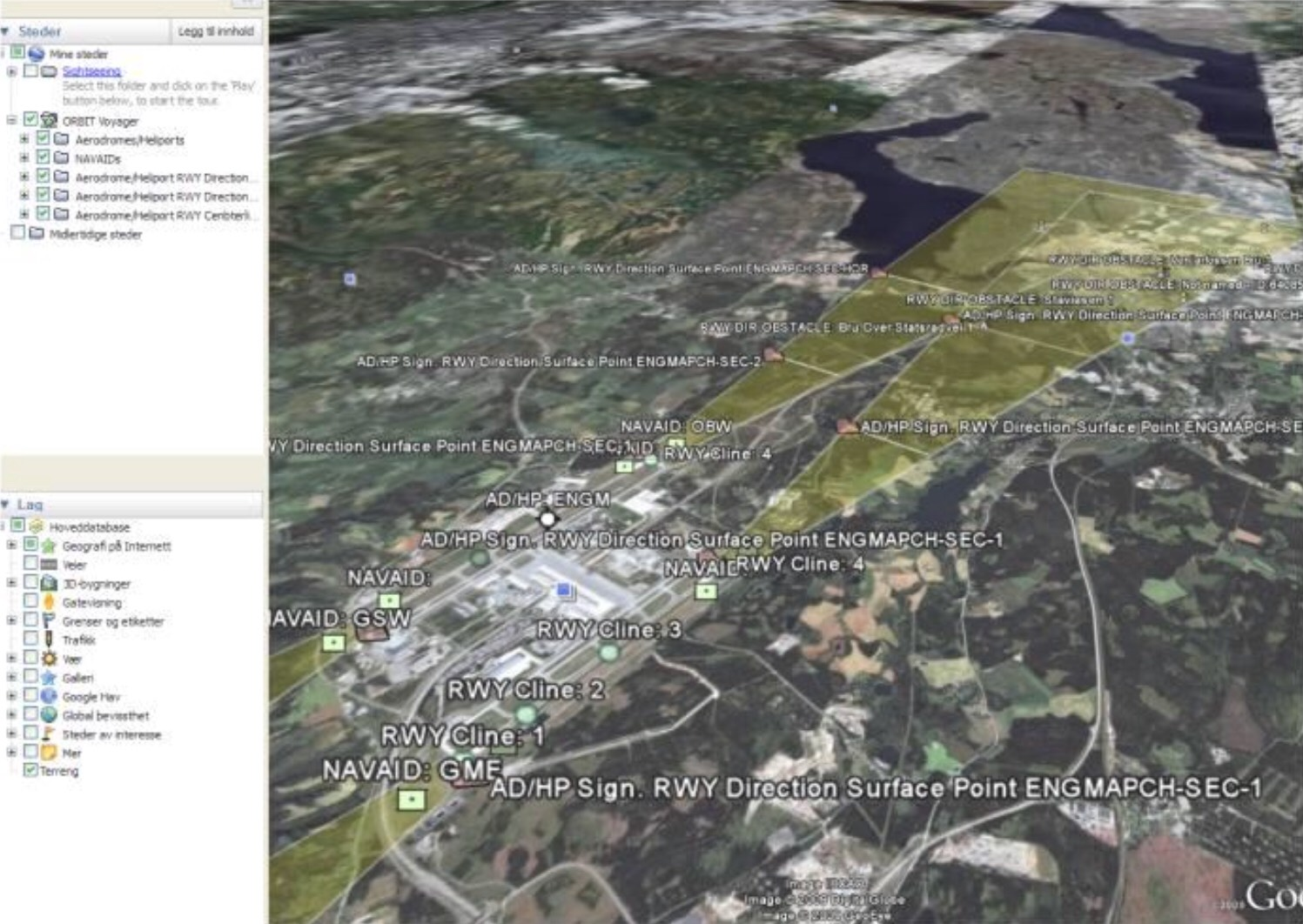 Google Earth - flyplass